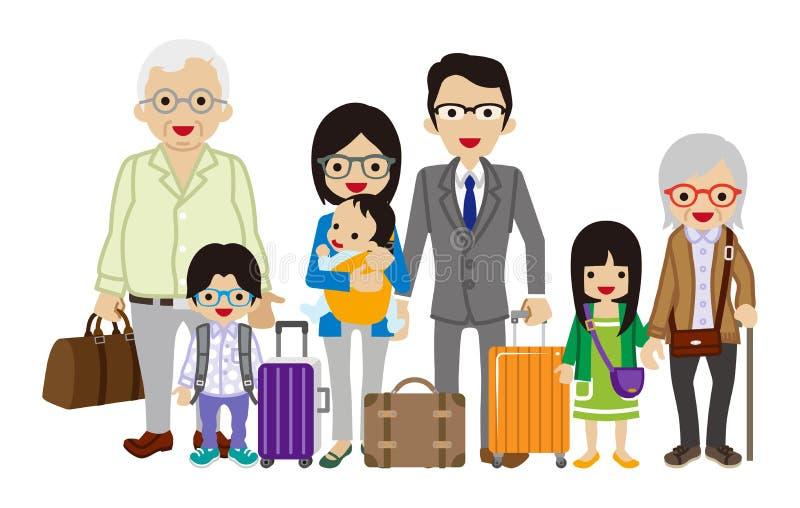 旅行的多代的家庭-亚洲人 库存例证