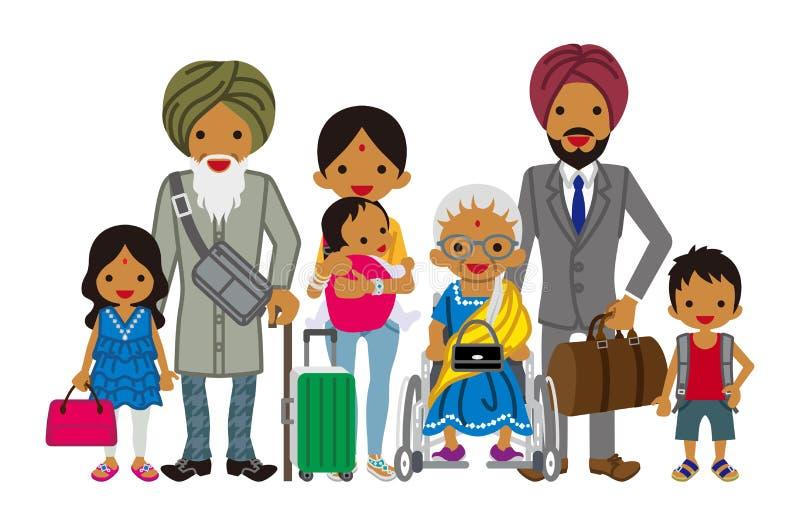 旅行的多代的家庭-印地安人 皇族释放例证