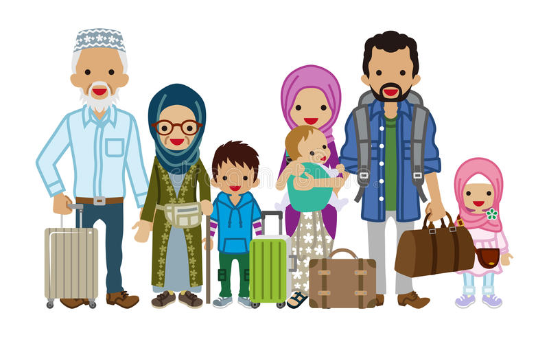 旅行的多代的家庭-穆斯林 皇族释放例证