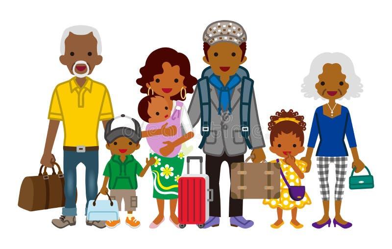 旅行的多代的家庭-非洲人 向量例证