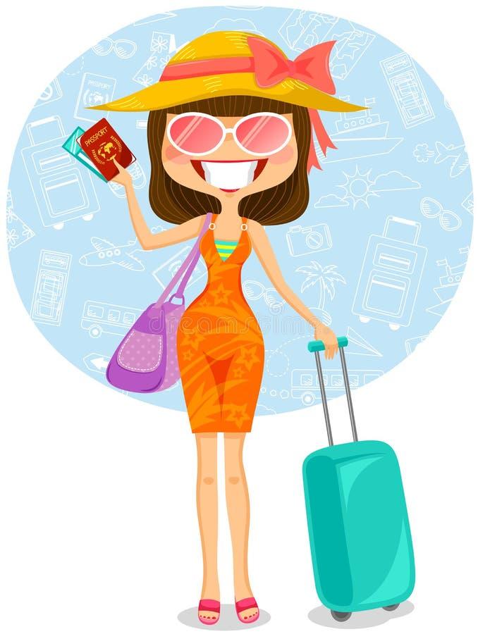 旅行的妇女 向量例证