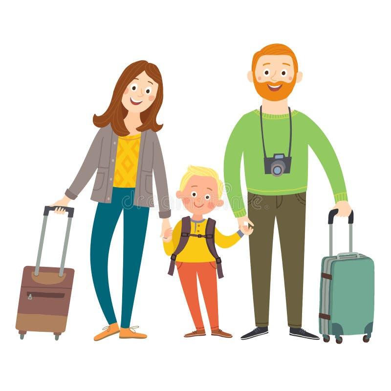 旅行的家庭在度假 与行李的愉快的家庭 动画片在白色背景隔绝的传染媒介eps 10例证 库存例证