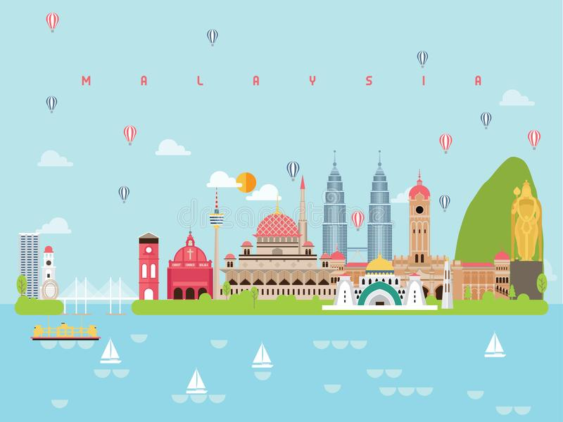 旅行的最小的样式和象的,符号集传染媒介马来西亚著名地标Infographic模板 向量例证