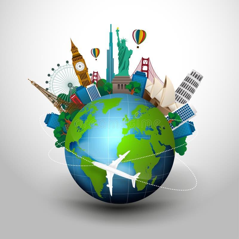 旅行的概念 世界的著名纪念碑 库存例证