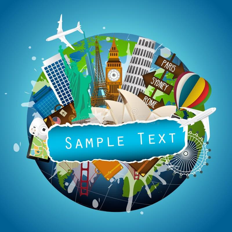 旅行的概念 世界的著名纪念碑 向量例证