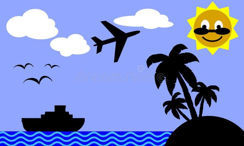 旅行的海岛热带 向量例证