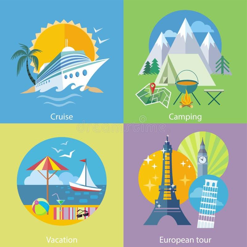 旅行的游览、游轮和野营的概念 库存例证