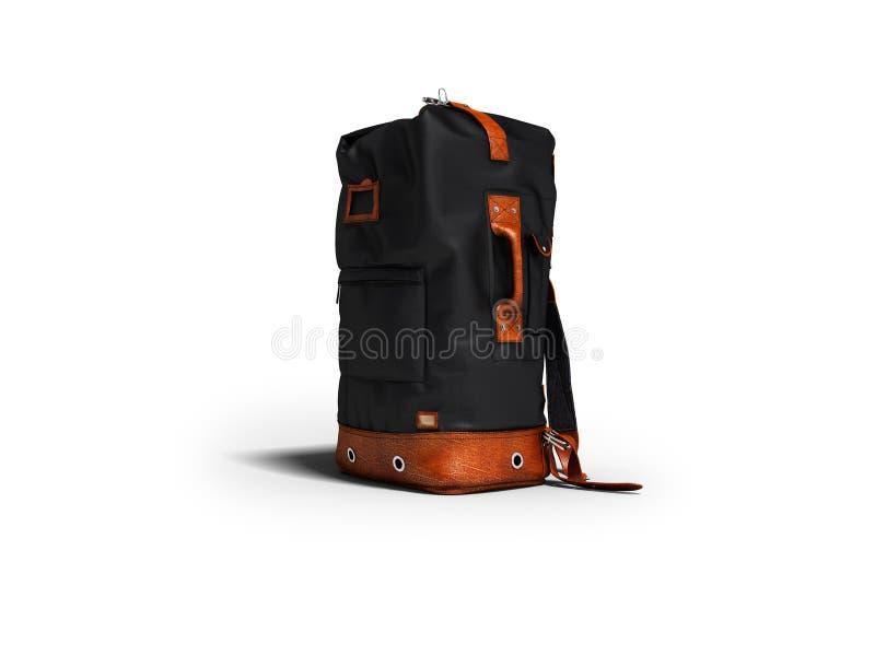 旅行的现代黑皮革背包在山3d 向量例证