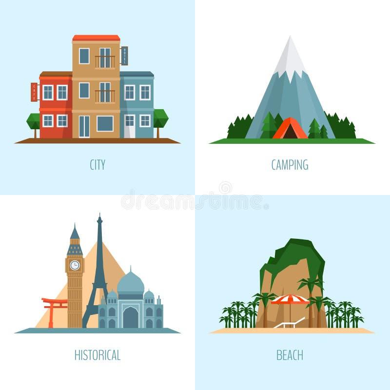旅行的类型 城市,海滩,野营和历史旅游业 ico 向量例证