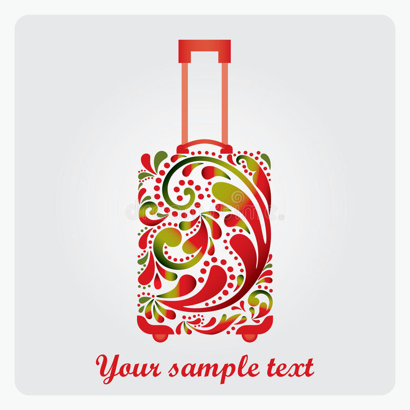 旅行的美丽的方式手提箱。 皇族释放例证
