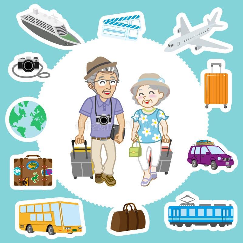 旅行的资深夫妇和运输集合 皇族释放例证