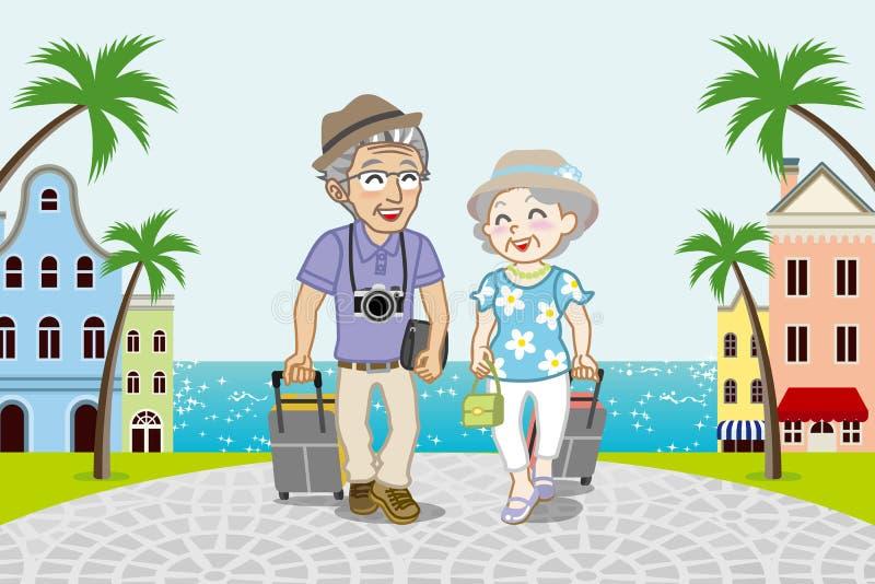 旅行的资深夫妇在海边镇- EPS10 向量例证