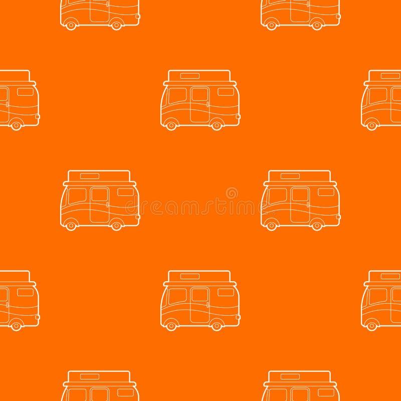 旅行的露营者货车样式传染媒介桔子 向量例证