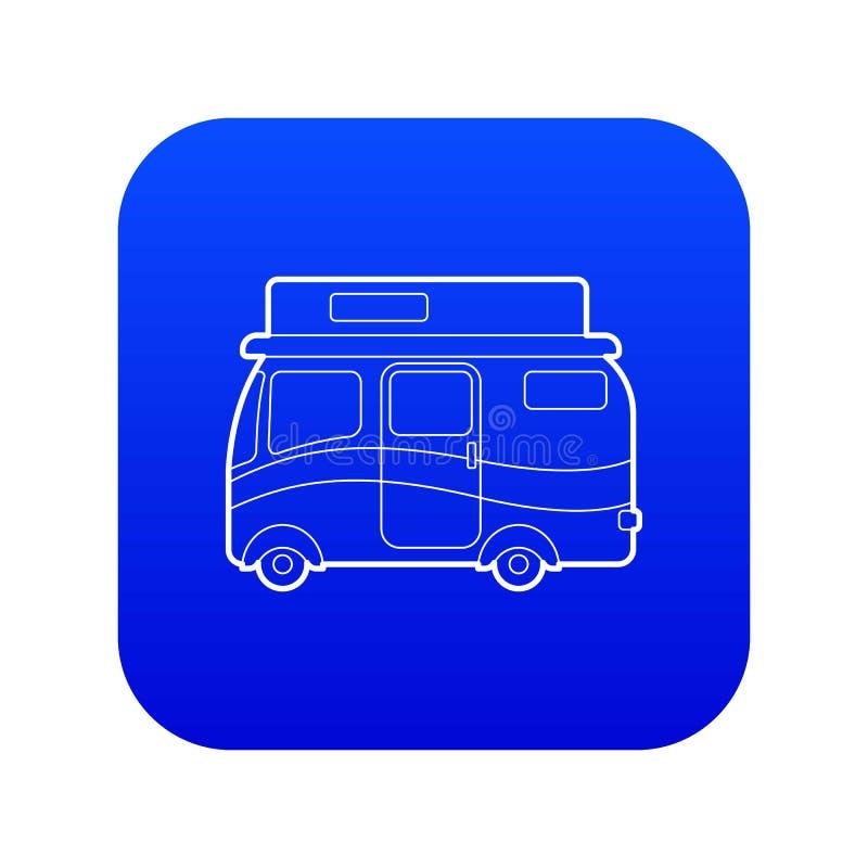 旅行的露营者货车象蓝色传染媒介 库存例证