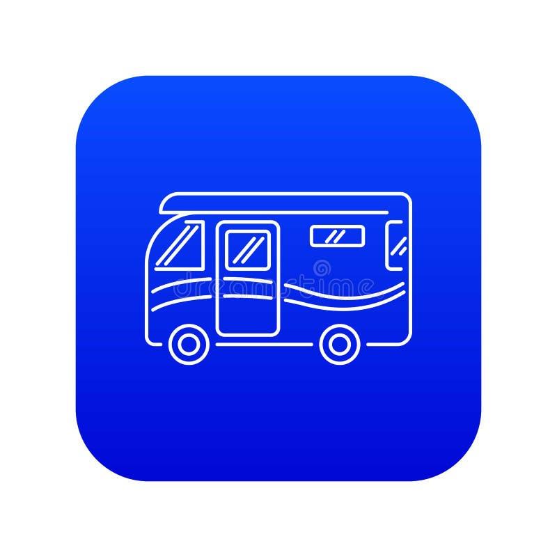 旅行的露营者货车象蓝色传染媒介 向量例证