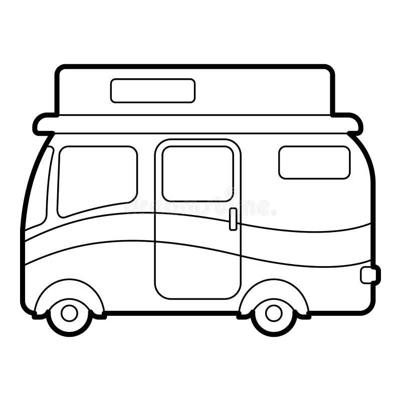旅行的露营者货车象,概述样式 库存例证