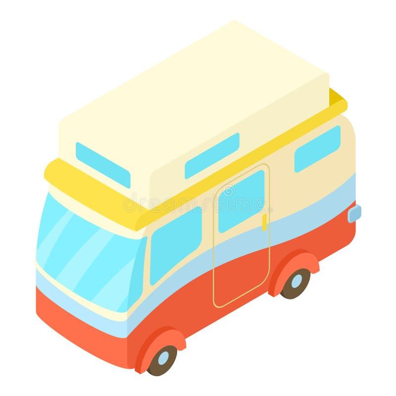 旅行的露营者货车象,等量3d样式 皇族释放例证