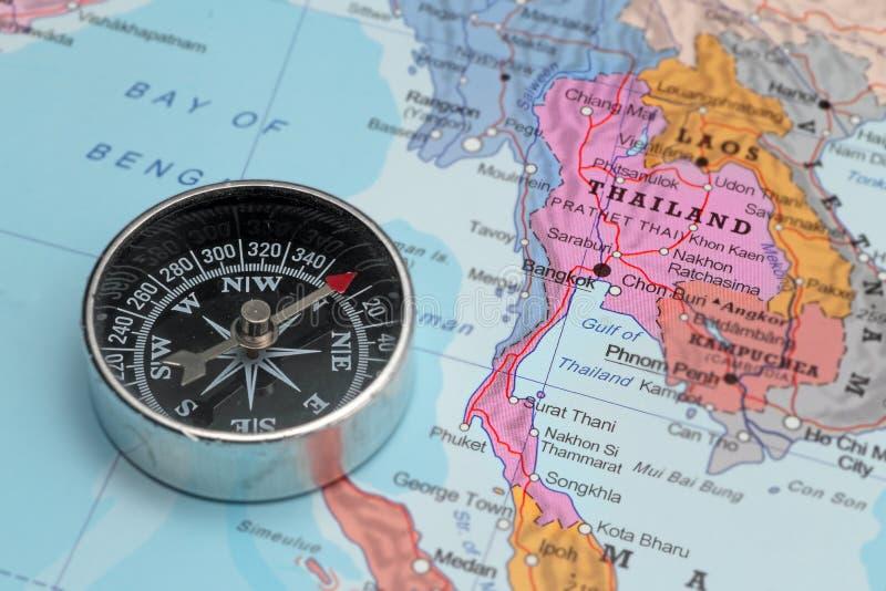 旅行目的地泰国,与指南针的地图 免版税库存图片
