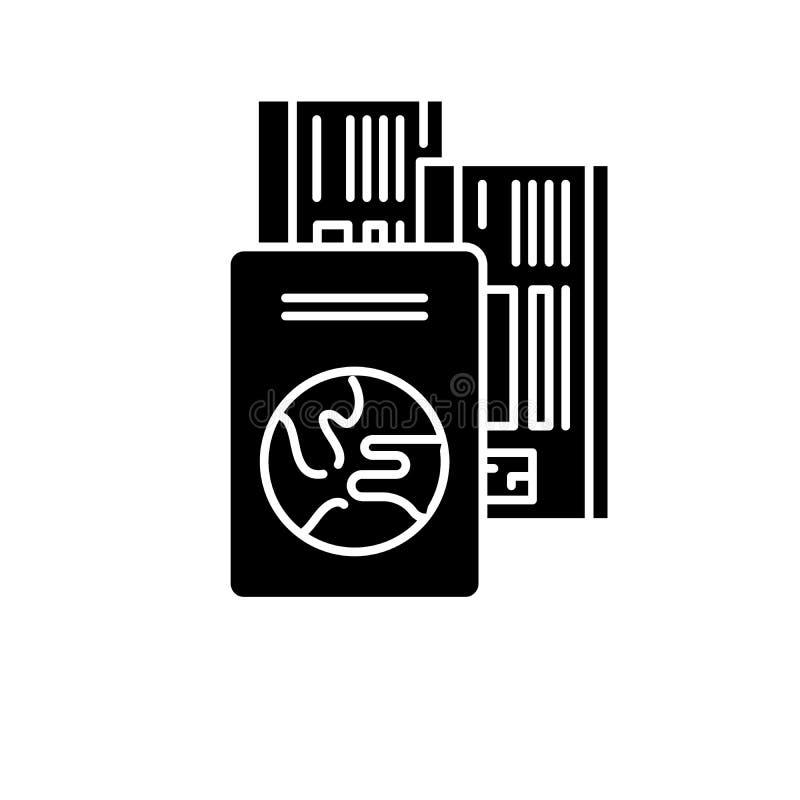 旅行票黑象,在被隔绝的背景的传染媒介标志 旅行票概念标志,例证 皇族释放例证
