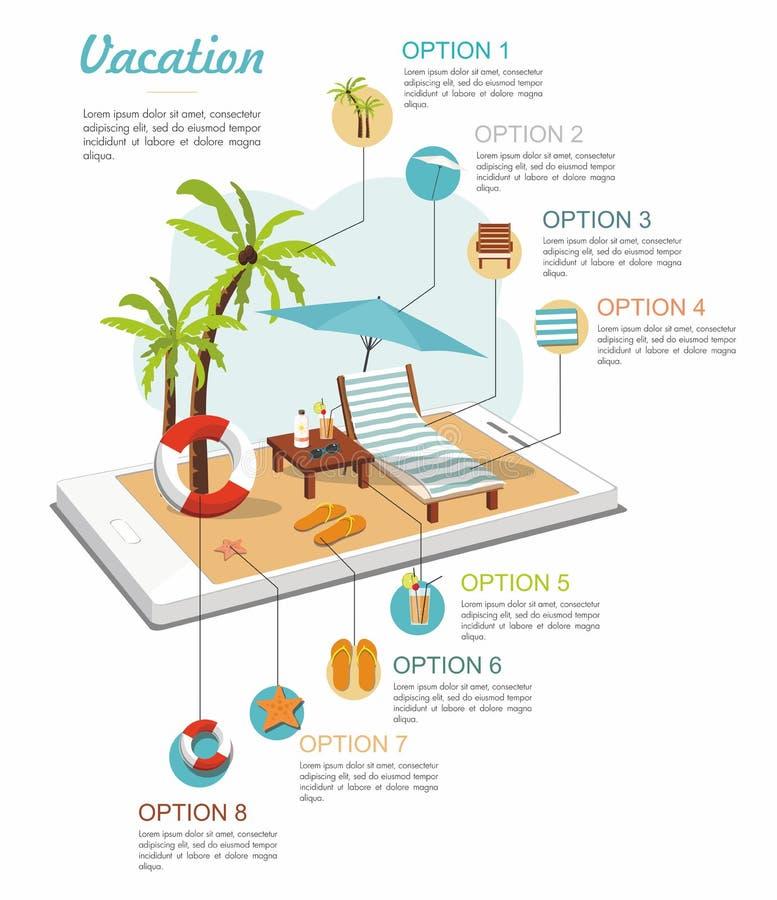 旅行等量infographic 夏天在智能手机的海滩辅助部件 向量例证