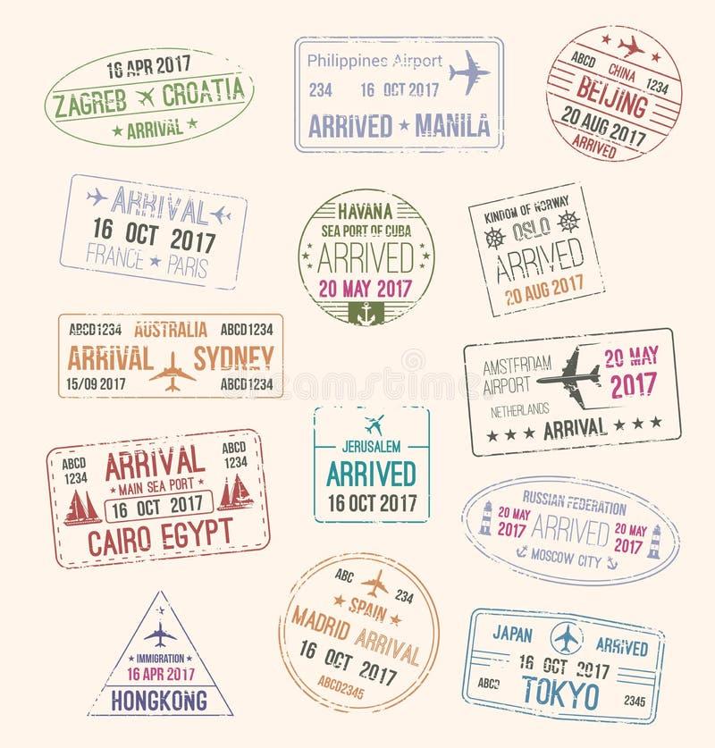 旅行签证护照邮票旅游业设计的 向量例证