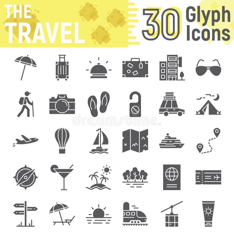 旅行纵的沟纹象集合,旅游业标志汇集 皇族释放例证