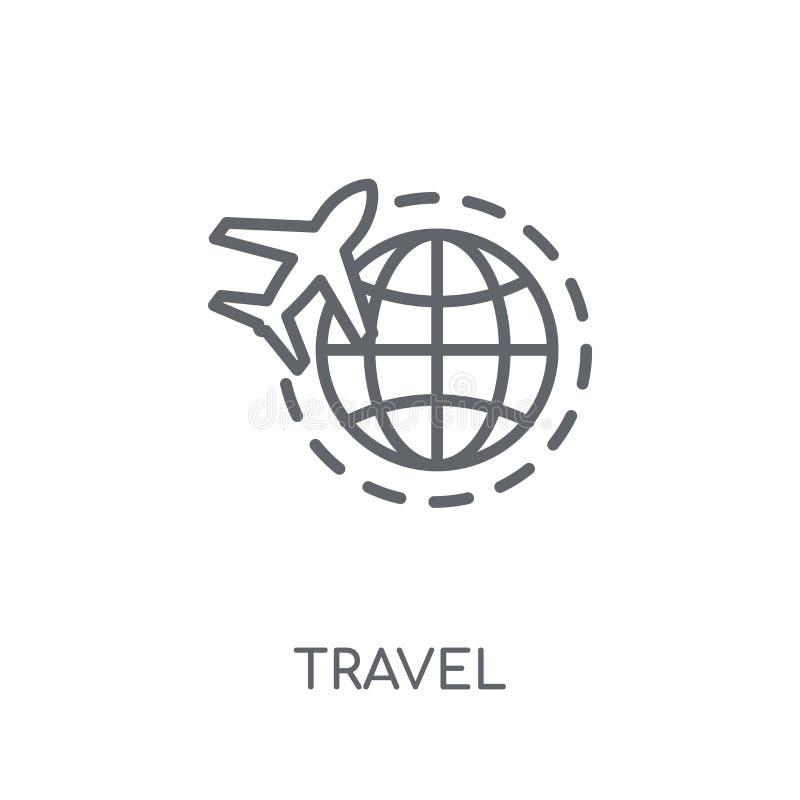 旅行线性象 在白色的现代概述旅行商标概念 库存例证