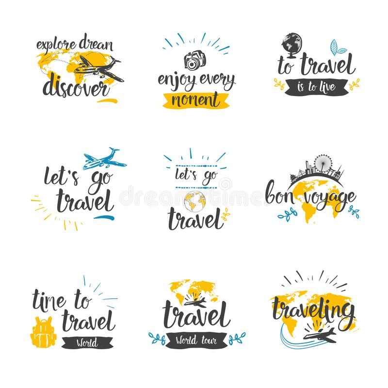 旅行行情象集合手拉的字法旅游业和冒险概念 向量例证