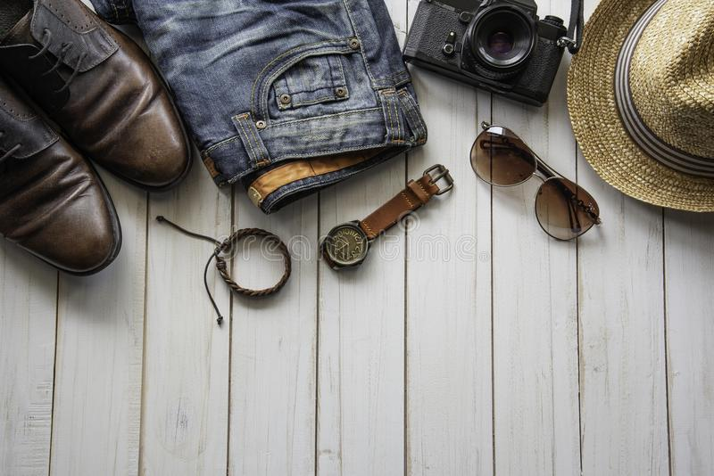 旅行衣物辅助部件服装为旅行 免版税库存照片