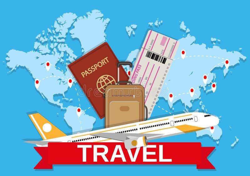 旅行袋子和世界地图 库存例证