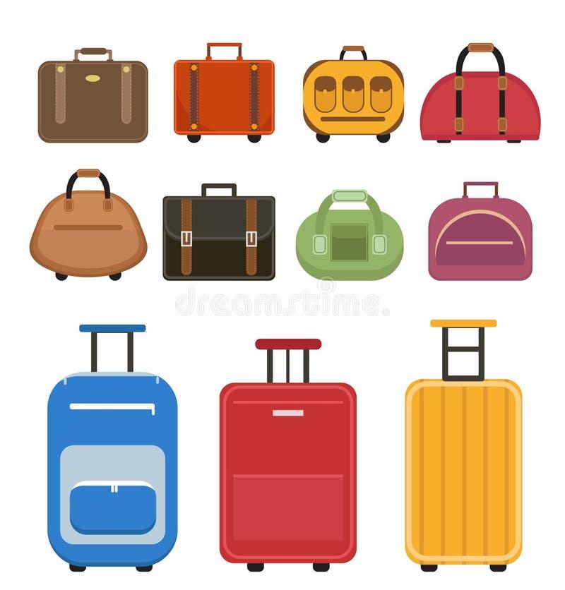 旅行袋子象集合,平的样式 行李旅行袋子在白色背景设置了 设置手提箱 汇集不同的袋子 库存例证