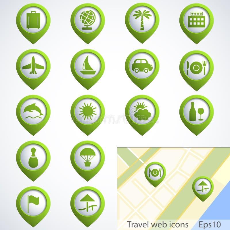 旅行被设置的万维网按钮 向量例证
