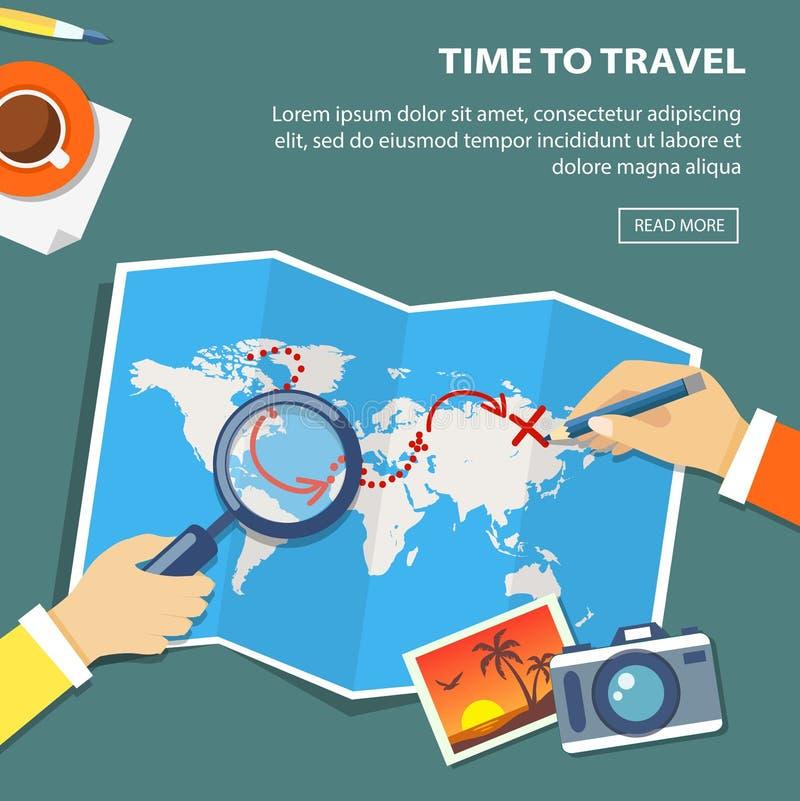 旅行计划平的横幅  有obiects和手的桌面 库存例证