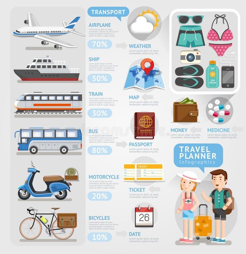 旅行计划者infographics元素 皇族释放例证
