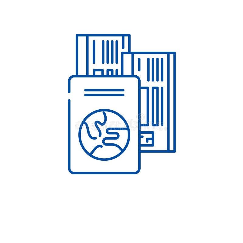 旅行购票线路象概念 旅行票平的传染媒介标志,标志,概述例证 库存例证