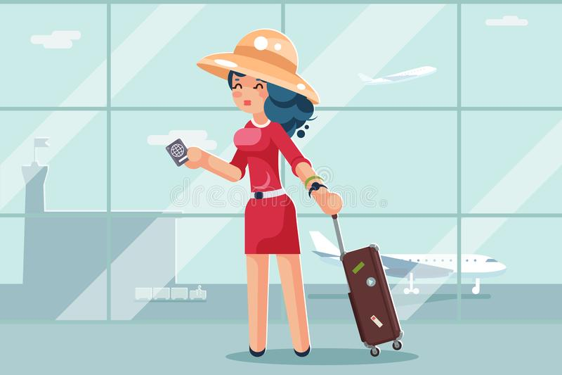 旅行逗人喜爱的妇女手提箱护照机场背景平的设计传染媒介例证 向量例证