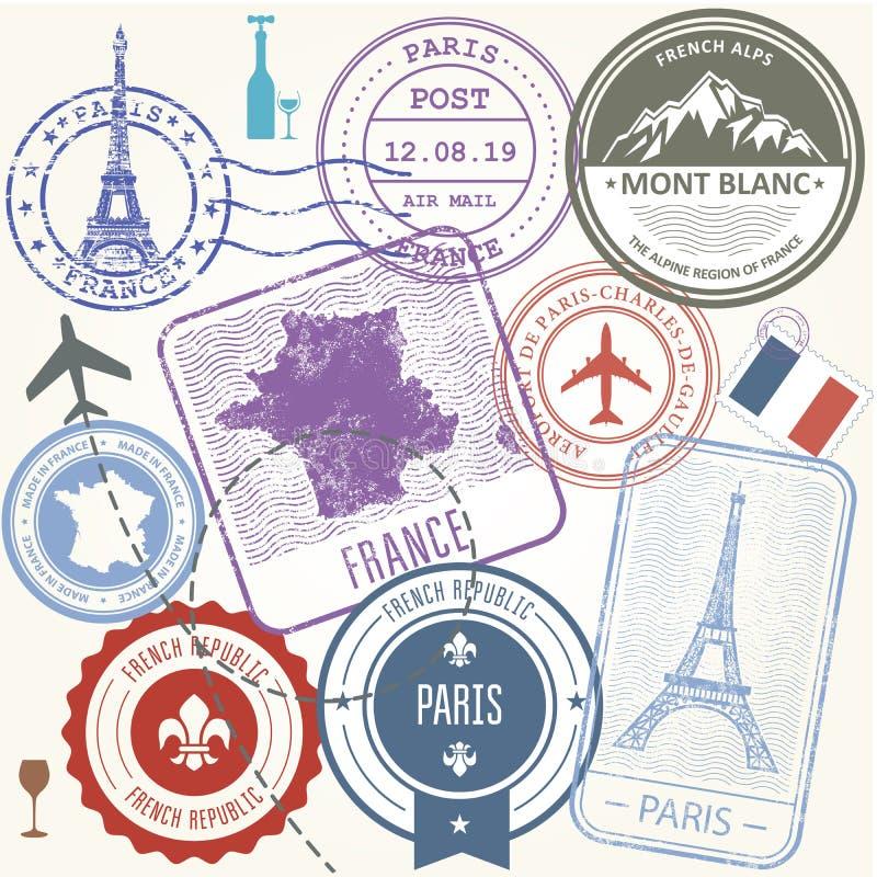 旅行邮票设置了-法国和巴黎旅途标志 向量例证