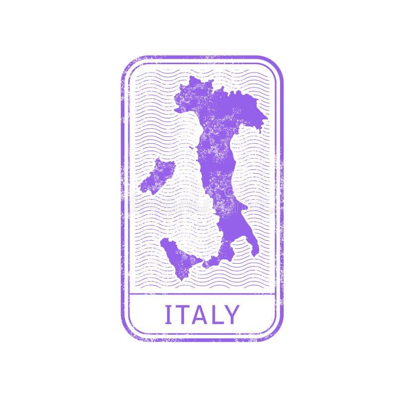 旅行邮票-意大利旅途,地图概述 库存例证