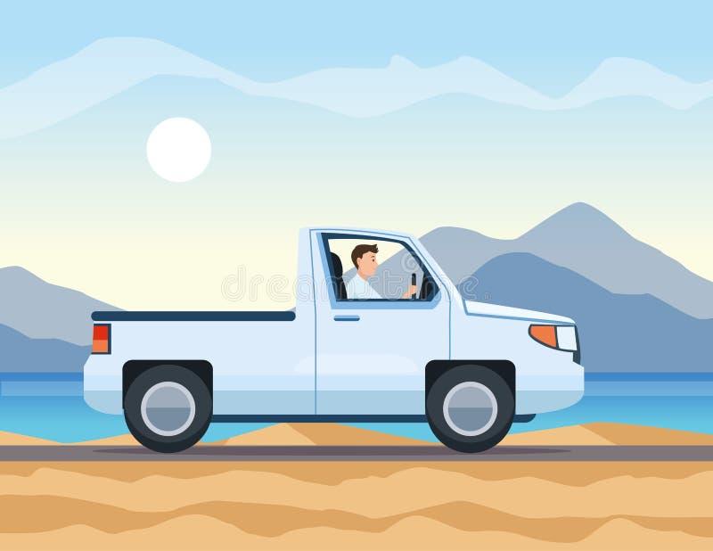 旅行采摘向上拱在高速公路 向量例证