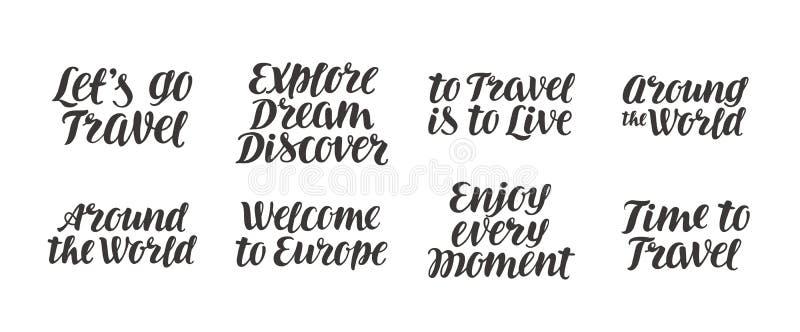 旅行,冒险传染媒介集合 手写的美好的书法字法 向量例证