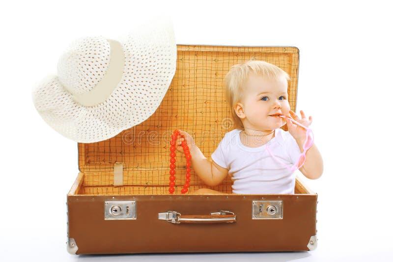 旅行,孩子,假期-概念 逗人喜爱滑稽婴孩使用 库存照片