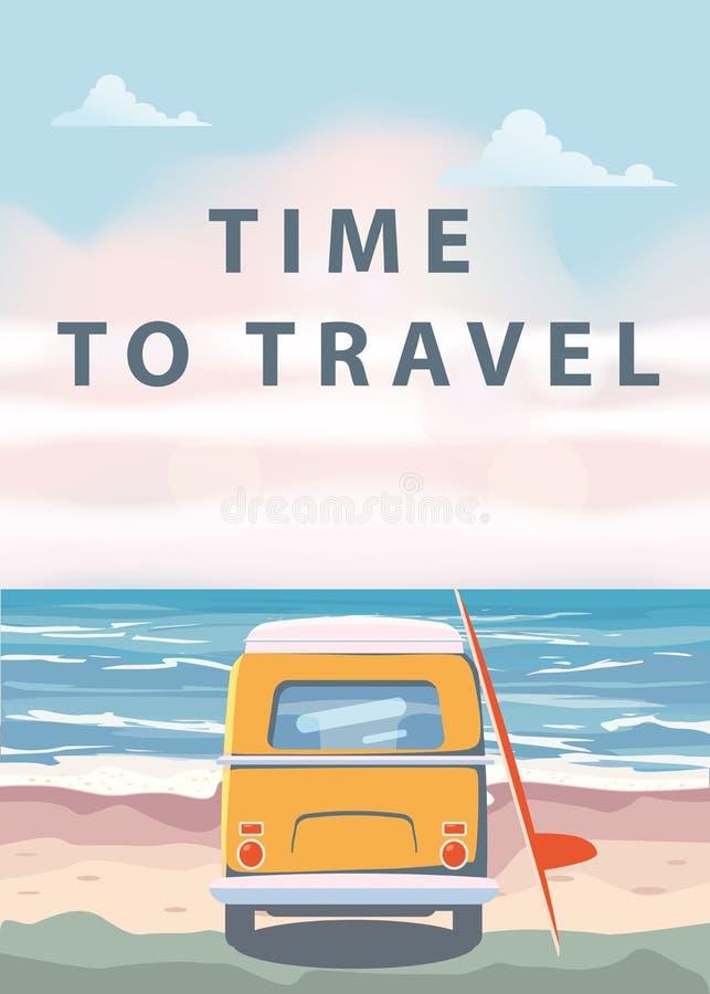 旅行,旅行传染媒介例证 海洋,海,海景 冲浪的搬运车,露营车,在海滩的公共汽车 您系列节日快乐的夏天 海洋 皇族释放例证