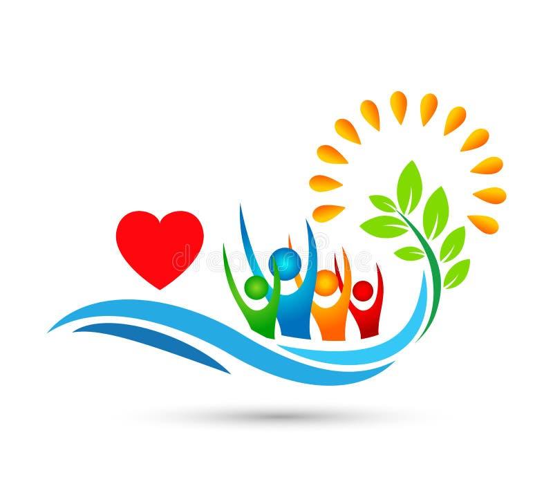 旅行,旅行,海滩愉快的人商标水波旅馆旅游业假日夏天可可椰子树传染媒介商标设计 库存例证