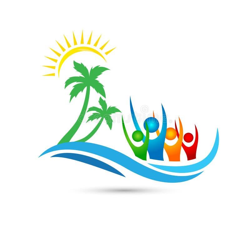 旅行,旅行,海滩愉快的人商标水波旅馆旅游业假日夏天可可椰子树传染媒介商标设计 皇族释放例证