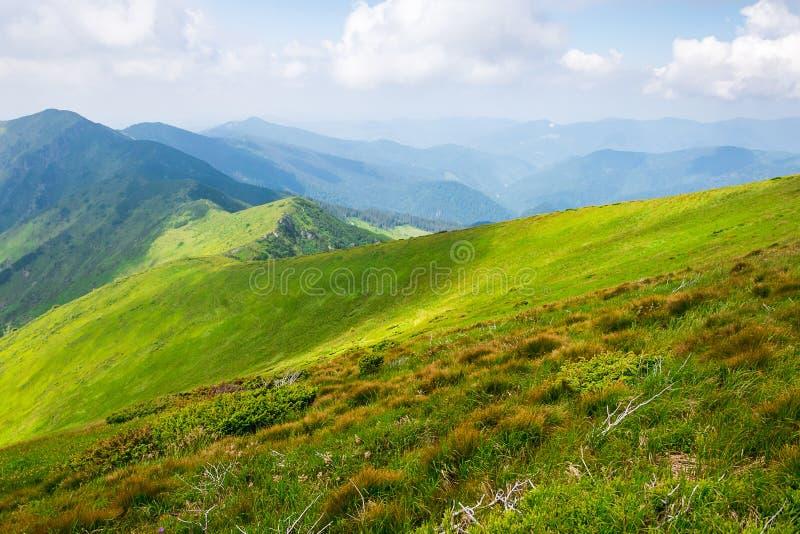 旅行,迁徙,自然 庄严,高绿色山 水平的框架 库存照片