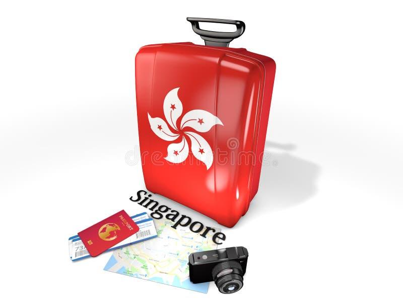 旅行:有新加坡旗子的一个手提箱,隔绝在白色背景 免版税库存图片