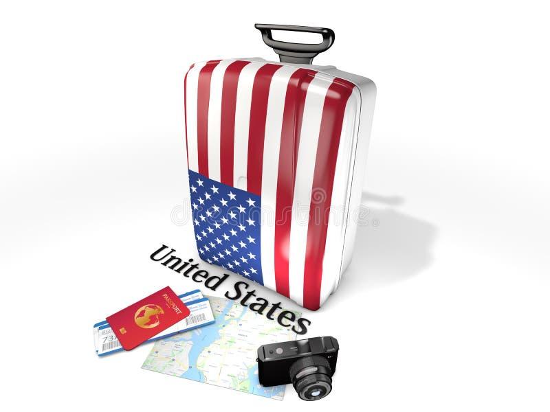 旅行:有美国的旗子的一个手提箱,隔绝在白色背景 图库摄影