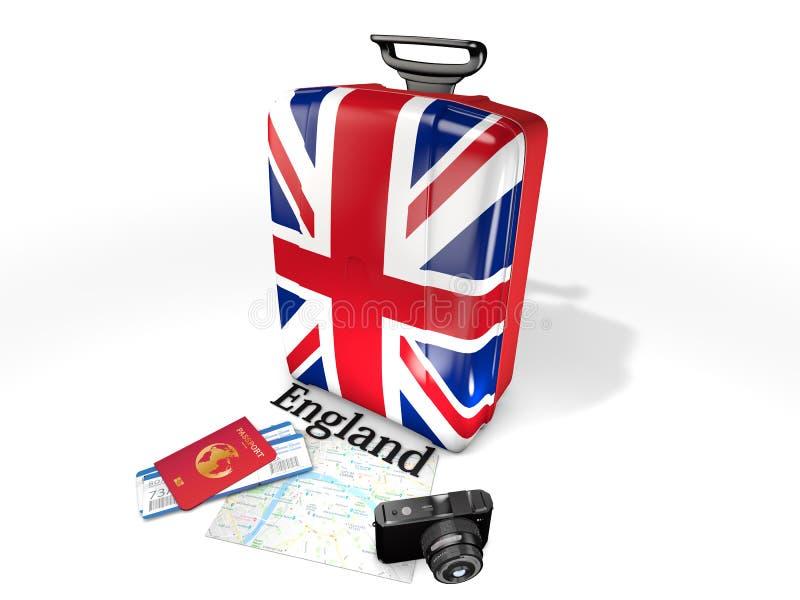旅行:有英国的旗子的一个手提箱,隔绝在白色背景 免版税库存照片