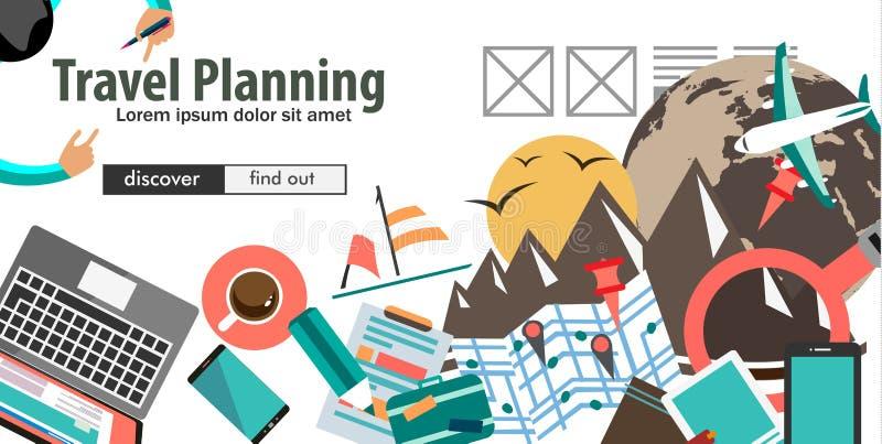 旅行组织和旅行计划的概念 向量例证