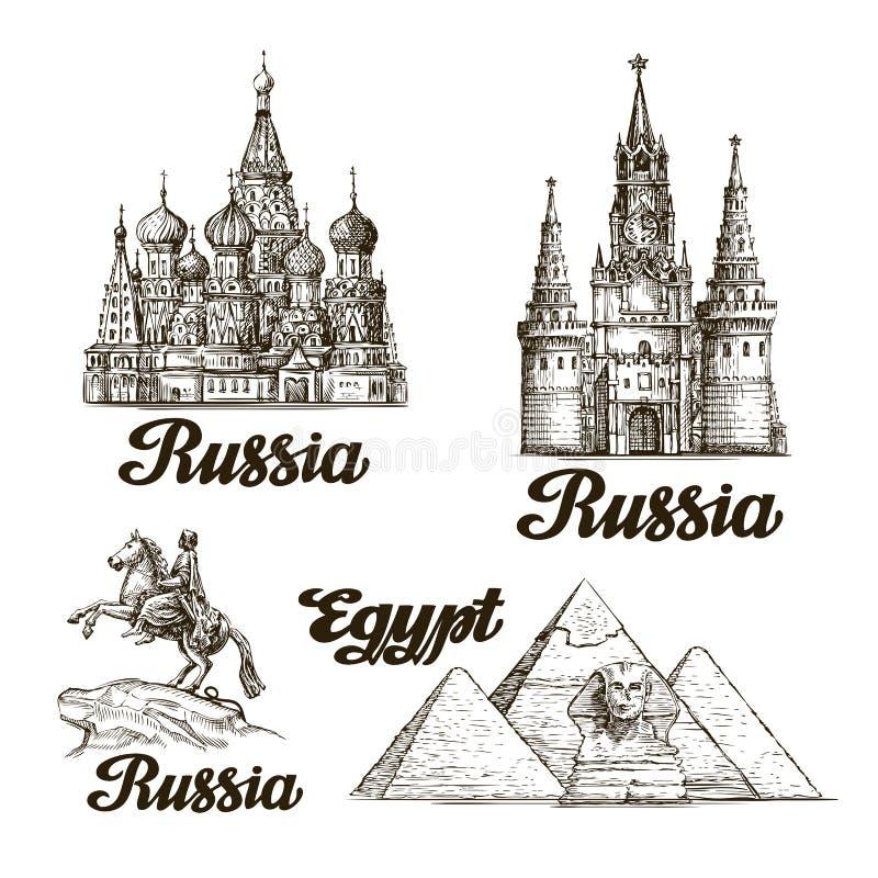 旅行 手拉的剪影俄罗斯,埃及 也corel凹道例证向量 皇族释放例证